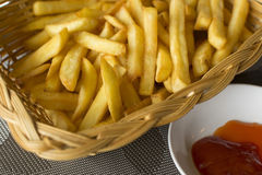 French fried and ketchup. On the table royalty free stock photography