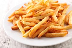 French fried on plate. Close up on french fried on plate Stock Photo