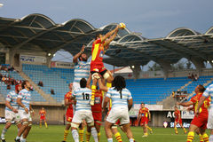 French friendly rugby match USAP vs Racing Metro Stock Image