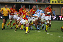 French friendly rugby match USAP vs Racing Metro Stock Photos