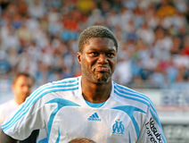 French friendly soccer match OM vs TFC. Olympique de Marseille's Djibril Cisse during the french friendly soccer match, Olympique de Marseille vs Toulouse Stock Image