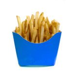 French fries. In blue box isolated on white Stock Images