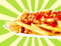 French Fries. A plate of French fries with ketchup, on a background of blue and beige stripes Stock Illustration