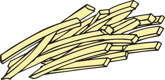 French Fries. Vector Image of french fries created from hand drawn sketch Stock Photography