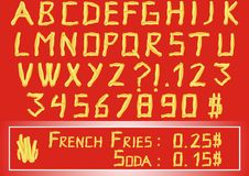French fries alphabet. Vector illustration Royalty Free Stock Photos