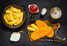French Fries with Baked Fish and Beer Royalty Free Stock Photos