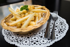 French Fries. In bamboo weave basket Stock Photography