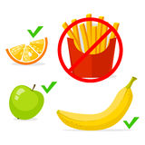 French fries banana, apple, orange. Healthy food and fast food, vector info graphic. Stock Image