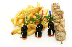 French fries and barbecue Royalty Free Stock Images