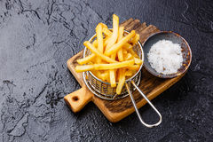French fries in basket for serving Stock Photo