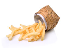 French fries in basket Stock Images