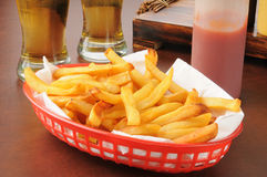 French fries and beer Stock Image