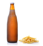 French fries and beer on white background Royalty Free Stock Photography