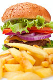 French fries and big cheeseburger Royalty Free Stock Photos