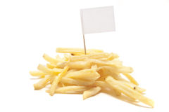 French fries with blank flag on white Royalty Free Stock Photos