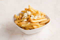 French fries with blue cheese Royalty Free Stock Photography