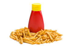 French fries with bottle of ketchup Stock Photos