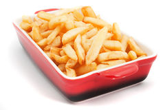 French fries in a bowl. French fries, fried potato isolated on white background Stock Photos