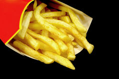 French fries in box. Close-up view of some french fries in a box Stock Photo
