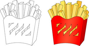 French fries in a box. Coloring book for kids about food Stock Photography