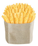 French fries in brown paper bag. On white background Stock Photography