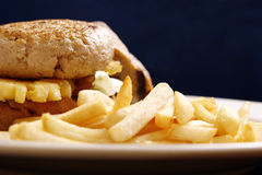 French Fries Burger. Hamburger and french fries mix for lunch or dinner Royalty Free Stock Photos