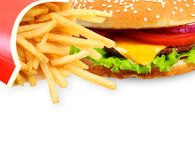 French fries and burger Stock Images