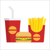 French fries, burger and soda Stock Photos