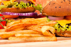 French fries and burgers Stock Image