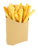 French Fries In A Cardboard Scoop. On a white background Royalty Free Stock Photo