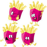 French fries cartoon with hand gesturing isolated Royalty Free Stock Images