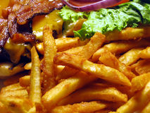 French Fries and Cheeseburger. This is a close up image of french fries with a cheeseburger stock photography