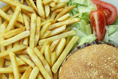 French Fries Cheeseburger with Salade and Tomatoes Royalty Free Stock Photo