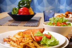 French fries and chicken Royalty Free Stock Image