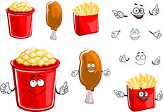 French fries, chicken leg and popcorn Royalty Free Stock Photos