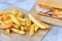 French fries and Ciabatta bread sandwich stock photo
