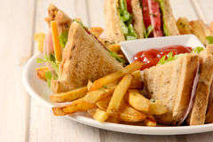 French fries and club sandwich Stock Photo