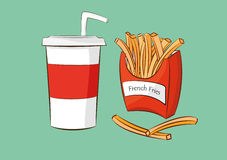 French fries with cola drink Stock Photo