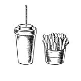 French fries and cold soda drink sketches Stock Image