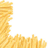 French fries in the corner. On white background Royalty Free Stock Images