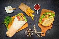 French Fries with Doner Kebab and Shawarma Royalty Free Stock Photography