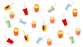 French fries and drink on white background stock illustration