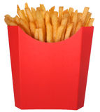 French fries in fast food carton. French fries in a red fast food carton with room for text or copy. Fast Food Collection royalty free stock photography