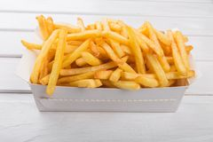 French Fries. Fast Food  Prepared Potato Snack Food Paper Plate Deep Fried Stock Photos