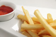 French fries food. With tomato sauce Royalty Free Stock Photos