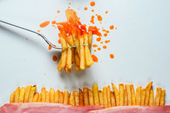 French fries on a fork Royalty Free Stock Photography