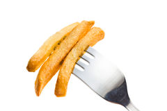 French fries on fork Royalty Free Stock Photo