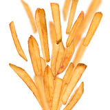 French fries in freeze motion Stock Photo