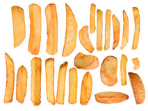 French fries in freeze motion Royalty Free Stock Photo