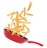 French fries in freeze motion Royalty Free Stock Images